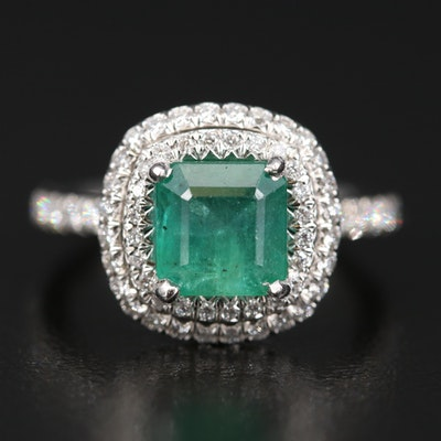 Platinum 2.75 CT Emerald and 1.25 CTW Diamond Ring