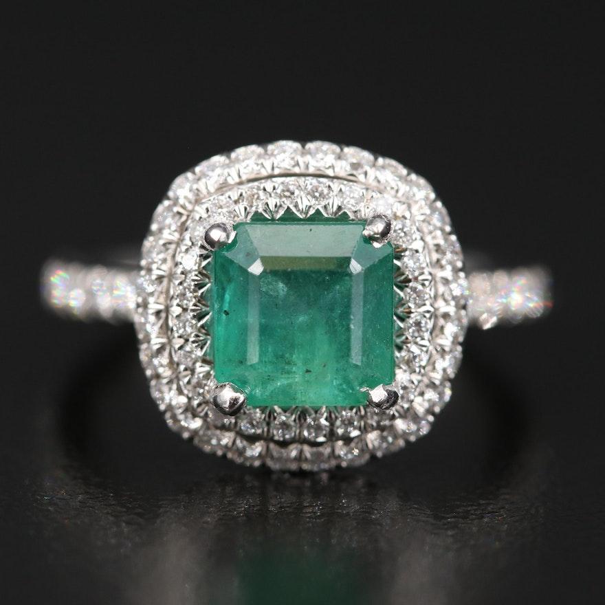 Platinum 2.75 CT Emerald and 1.25 CTW Diamond Ring