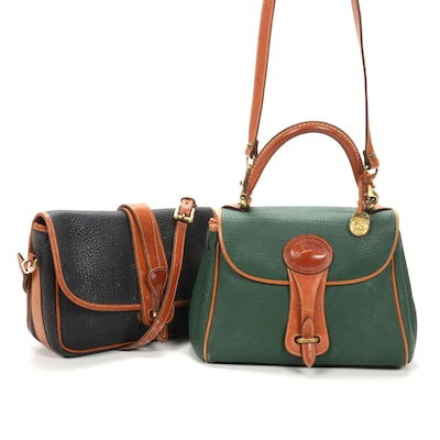 Dooney & Bourke All-Weather Leather Handbags in Navy Blue and Green