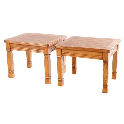 Pair of Lane Furniture Oak Side Tables, Late 20th Century