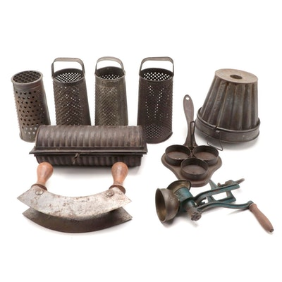 Tin Jelly Mold and Other Kitchen Utensils, Late 19th to Early 20th Century