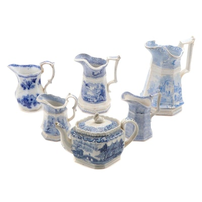 """Livesley Powell and Co """"Abbey"""" Pitchers and Other English Blue Transferware"""