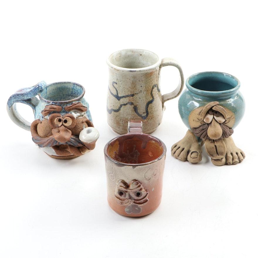 Signed Ceramic Folk Art Figural Mugs and Others