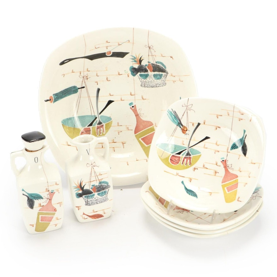 Mid Century Modern Patio Hand-Painted Bowls and Cruets, Mid-20th Century