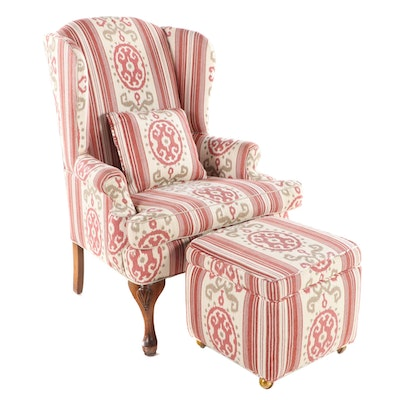 Orange Chair Inc. Queen Anne Style Upholstered Wingback Armchair and Ottoman