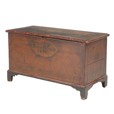 American Paint-Decorated Poplar Blanket Chest, dated 1824