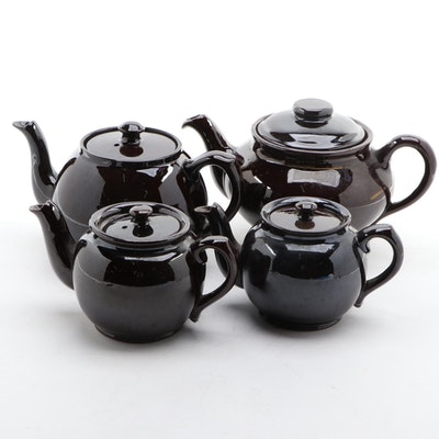 Canadian and English Brown Betty Type Ceramic Teapots, 20th Century