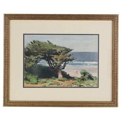 Edmond James Fitzgerald Coastal Landscape Watercolor Painting