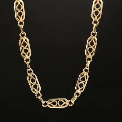 18K Fancy Openwork Chain Necklace