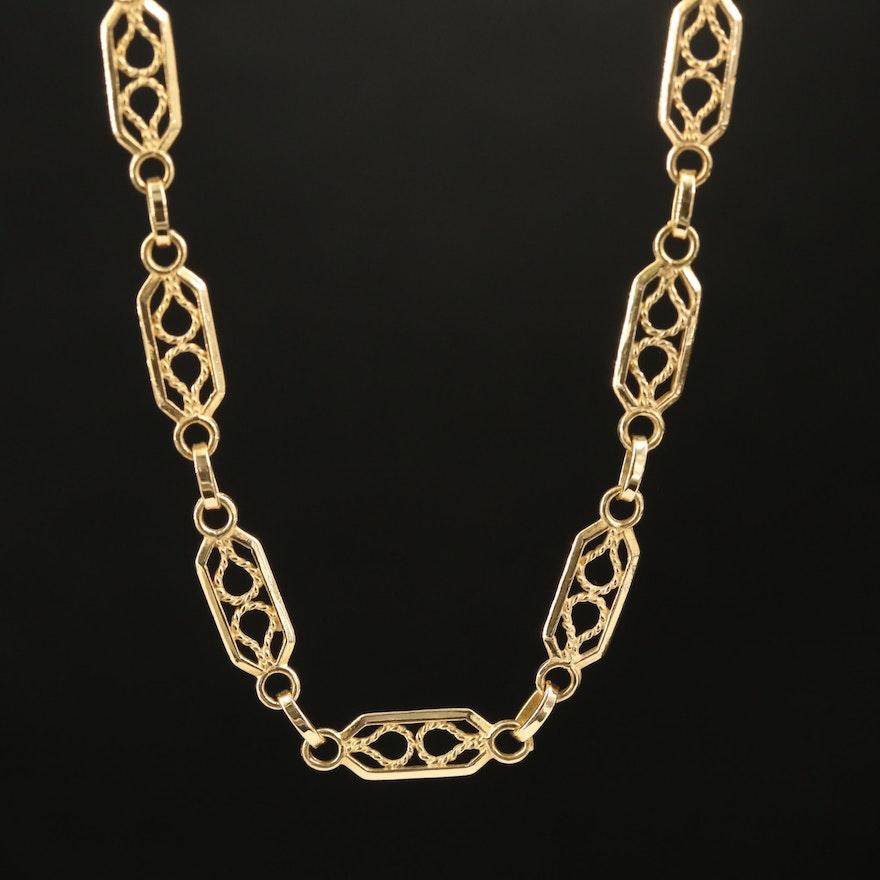 18K Fancy Openwork Chain Necklace