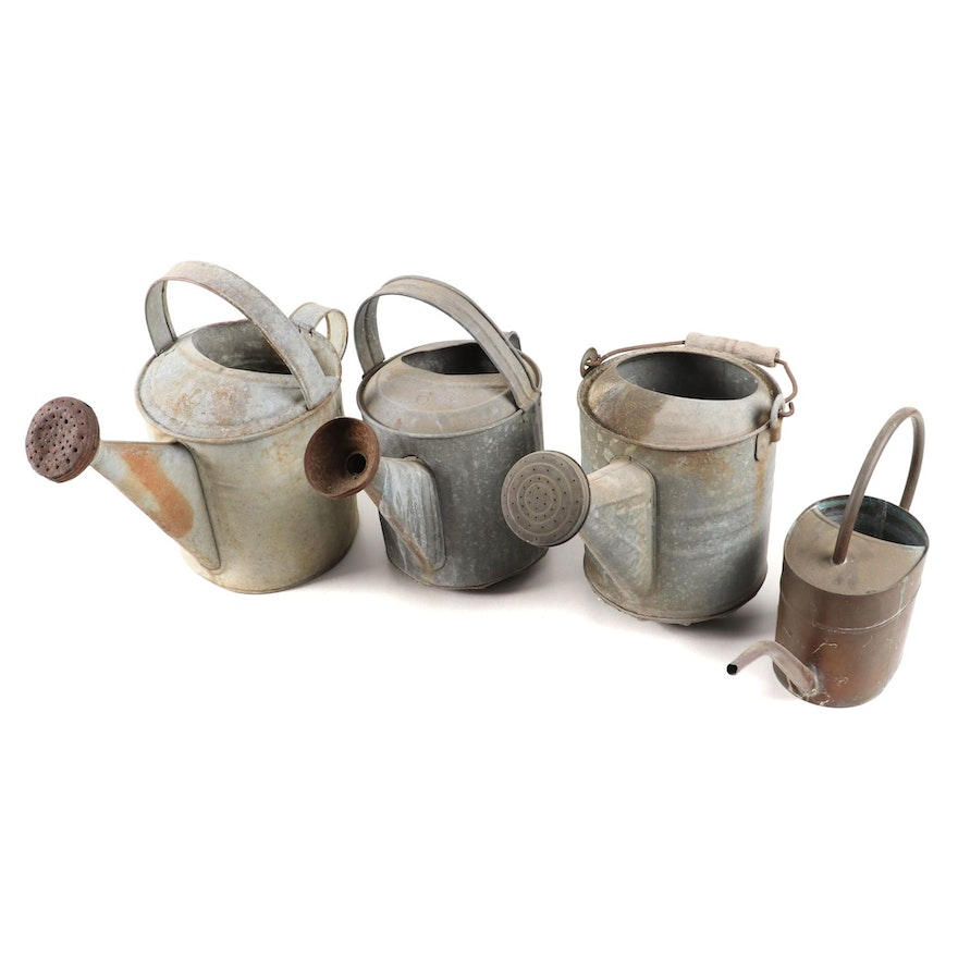 Three Galvanized Metal Watering Cans and One Copper Indoor Watering Can