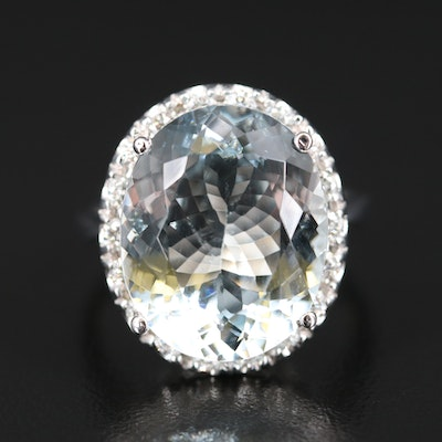 14K 12.59 CT Aquamarine and Diamond Halo Ring