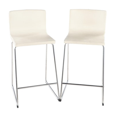 "Pair of IKEA ""Bernhard"" Faux Leather Upholstered Counter Stools"