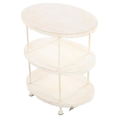 Creative Co-Op Three-Tiered Painted Metal Side Table