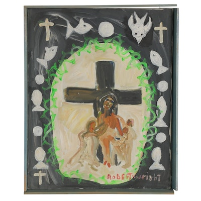 Robert Wright Acrylic Painting of Jesus at the Cross, Late 20th Century