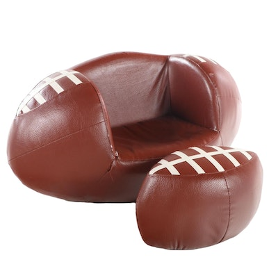 Football Shaped Bonded Leather Child's Chair with Ottoman