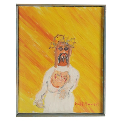 Robert Wright Acrylic Painting of Jesus Christ, Late 20th Century