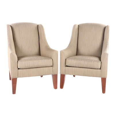 "Pair of Ethan Allen ""Hartwell"" Upholstered Wingback Armchairs"