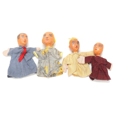 Handpainted Papier Mâché Hand Puppet Family, Mid/Late 20th Century