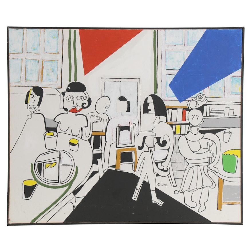 Eduardo Oliva Abstract Acrylic Painting of Cafe Scene, 1985