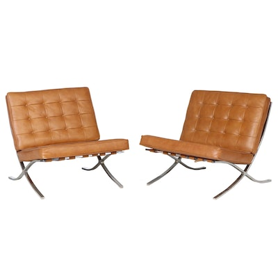 Pair of Selig Modernist Chrome and Brown Leather Barcelona Style Lounge Chairs