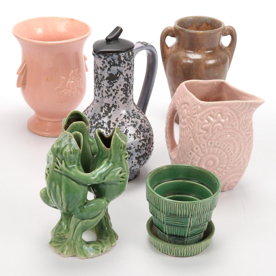McCoy and Other Ceramic Vases and Jug, Mid-20th Century