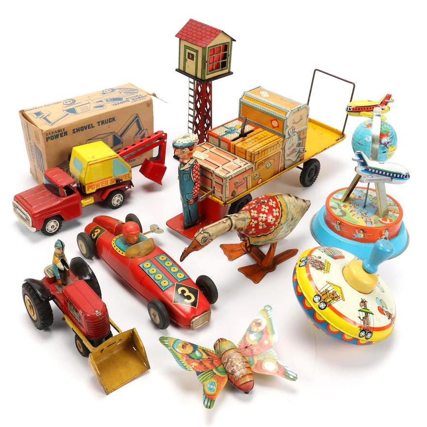 Tin Litho Wind-Up Toys, Mid-20th Century