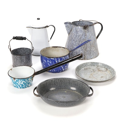 Enamelware Metal Pots, Pans and More, Early to Mid 20th Century