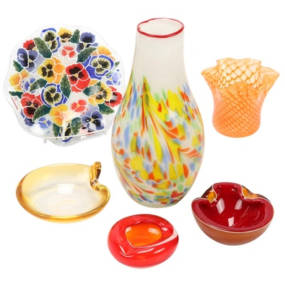 Peggy Karr Fused Glass Bowl With Blown Glass Vases and Bowls