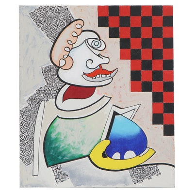 Eduardo Oliva Acrylic Painting of Abstract Figure