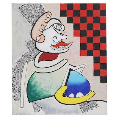 Eduardo Oliva Acrylic Painting of Abstract Figure