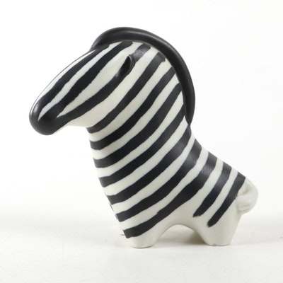 Arabia Finland Ceramic Zebra Figurine by Taisto Kaasinen, Mid to Late 20th C.