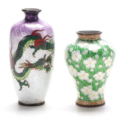 Two Japanese Enamel Miniature Vases