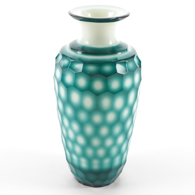 Chinese Faceted Overlay Glass Vase