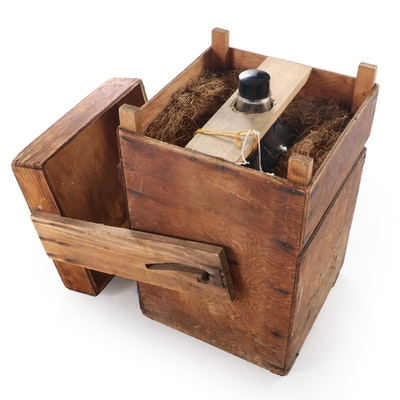 American Primitive Style Wooden Crate with Demi John Glass Bottle