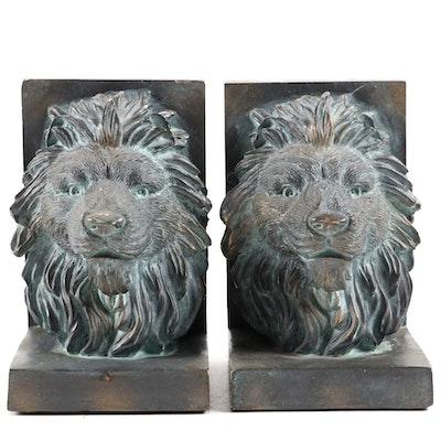 Composite Lion Head Bookends