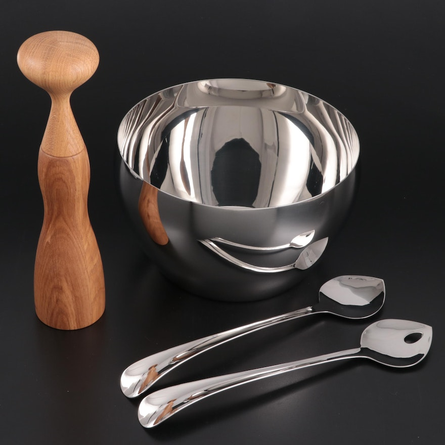 """Georg Jensen """"Cafu"""" Stainless Steel Bowl, Salad Servers and Wooden Pepper Mill"""