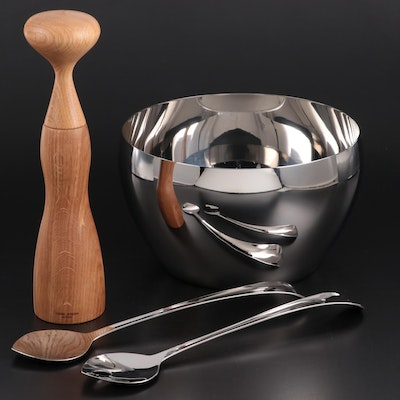 "Georg Jensen ""Cafu"" Stainless Steel Bowl, Salad Servers and Wooden Pepper Mill"