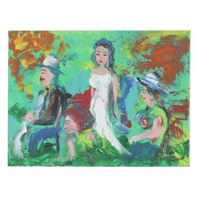 """Kurt Shaw Folk Art Acrylic Painting """"White Wedding,"""" 2018"""
