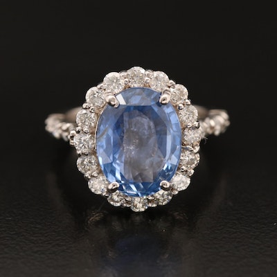 14K 6.06 CT Sri Lankan Sapphire and 1.27 CTW Diamond Ring with GIA Report