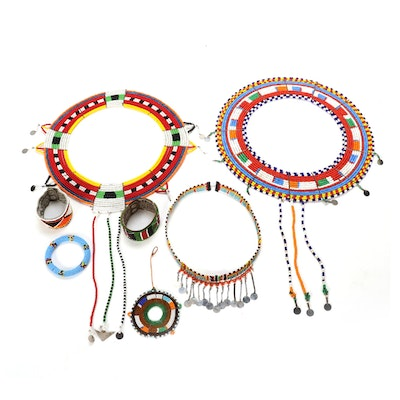 African Style Seed Bead Collar Necklaces, Bracelets, and More