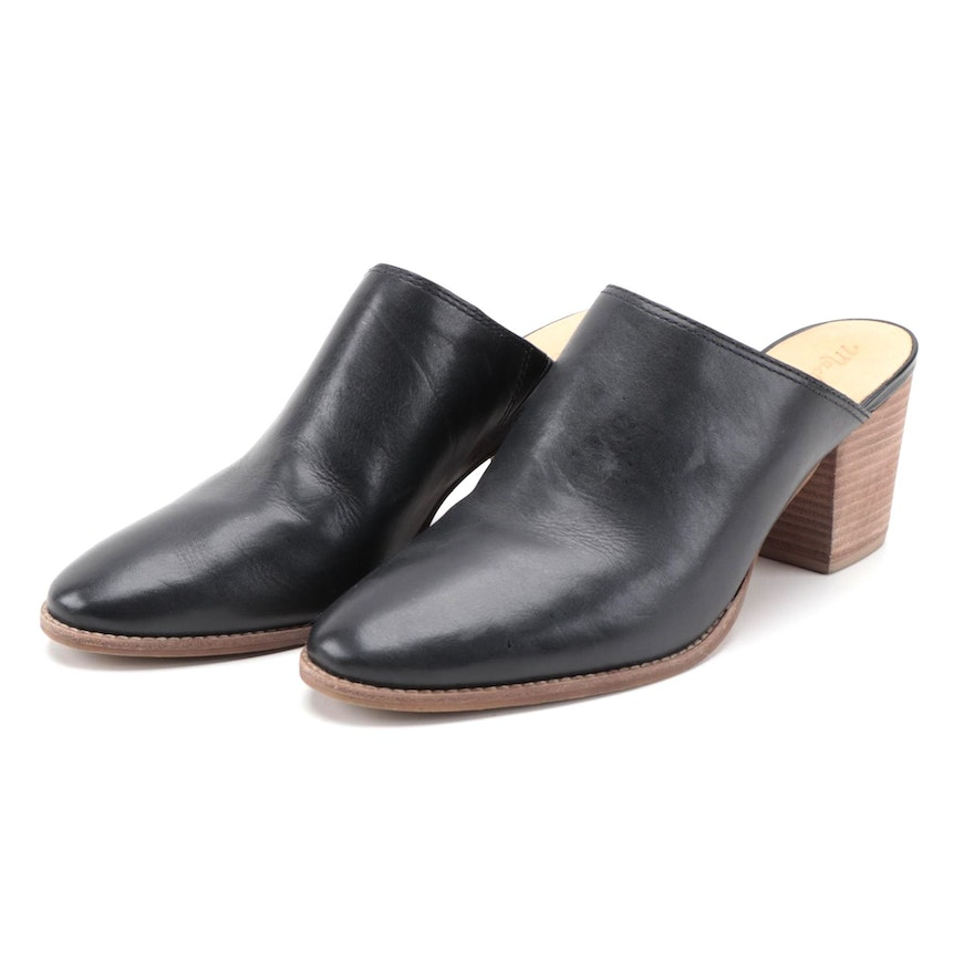 Madewell Black Leather Clogs