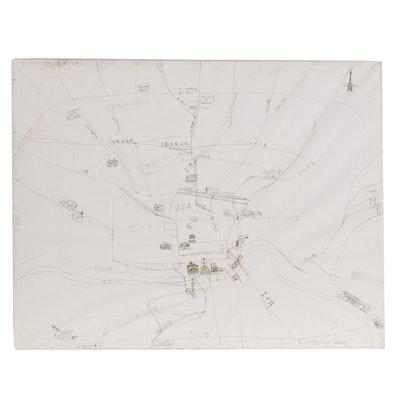 "Courttney Cooper Large-Scale Ink Drawing Map ""Zinzinnati, Ohio USA Rocks,"" 2008"