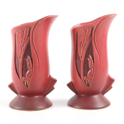 "Roseville Pottery Red ""Silhouette"" Vases, Early 20th Century"