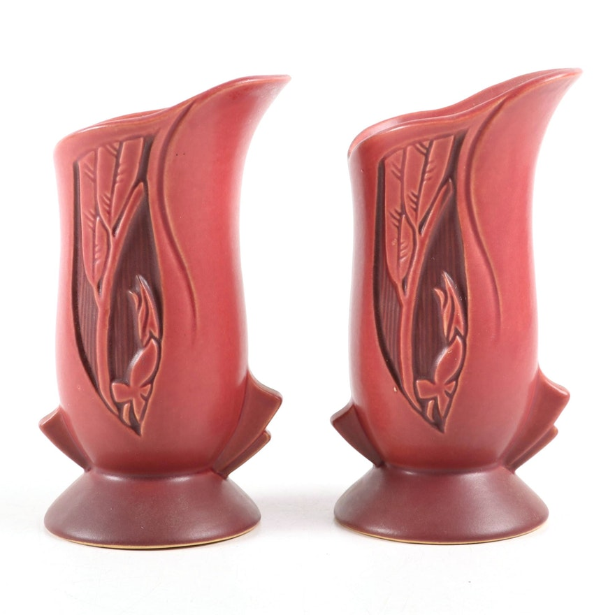 """Roseville Pottery Red """"Silhouette"""" Vases, Early 20th Century"""