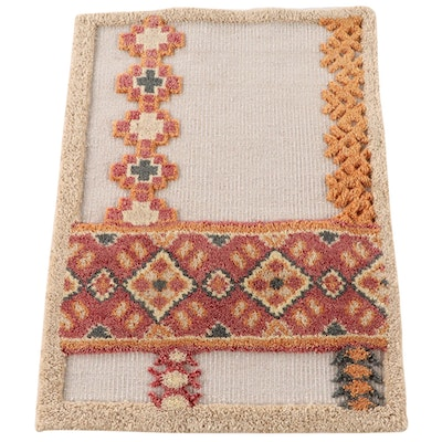 2'1 x 2'11 Hand-Knotted Indian Wool Accent Rug from The Rug Gallery