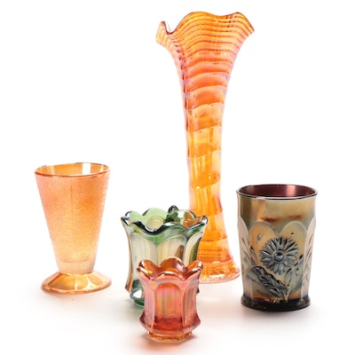 Imperial Carnival Glass Vase, Northwood Dandelion Tumbler, and More