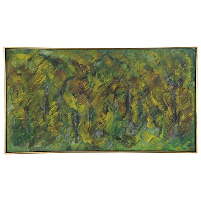 "Abstract Landscape Oil Painting ""Fall Birches in Paris,"" 1967"