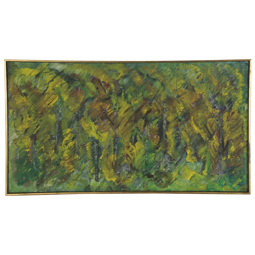 """Abstract Landscape Oil Painting """"Fall Birches in Paris,"""" 1967"""