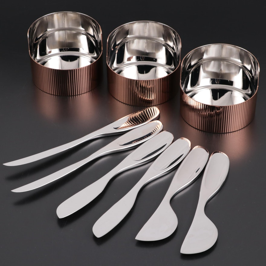 """Georg Jensen """"Urkiola"""" Serving Bowls and Soft Cheese Knives"""